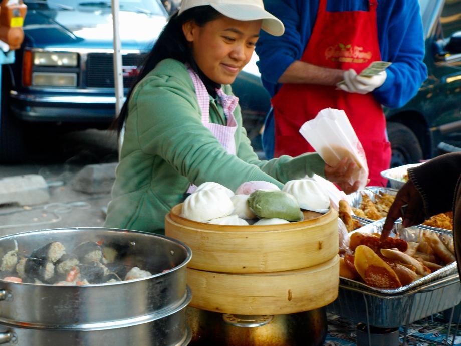 steamed shrimp shumai and bean buns
