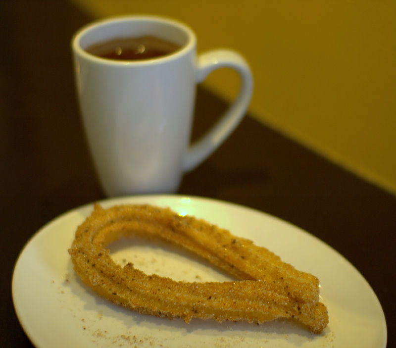 ... glittering airy churro and decadent freshly ground Mexican chocolate