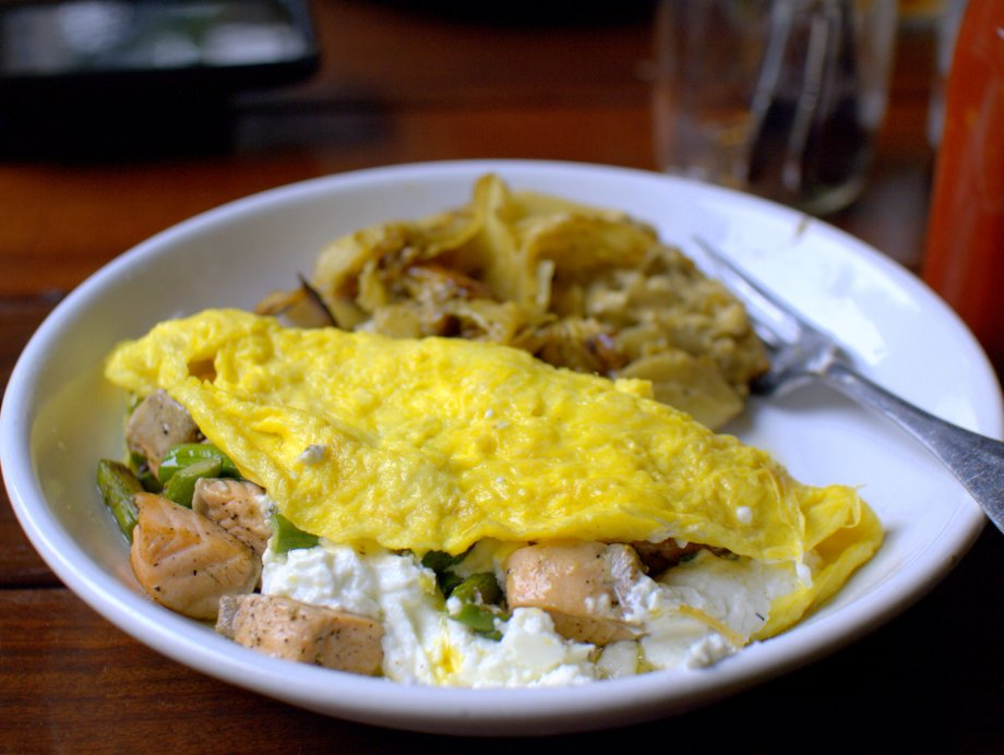 salmon and goat cheese omelet, broken record