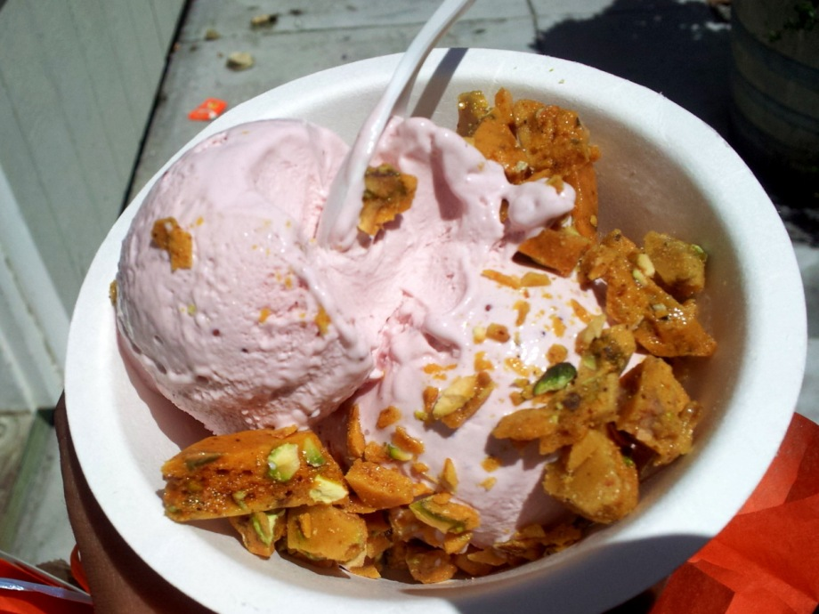 strawberry white balsamic with pistachio brittle, smitten