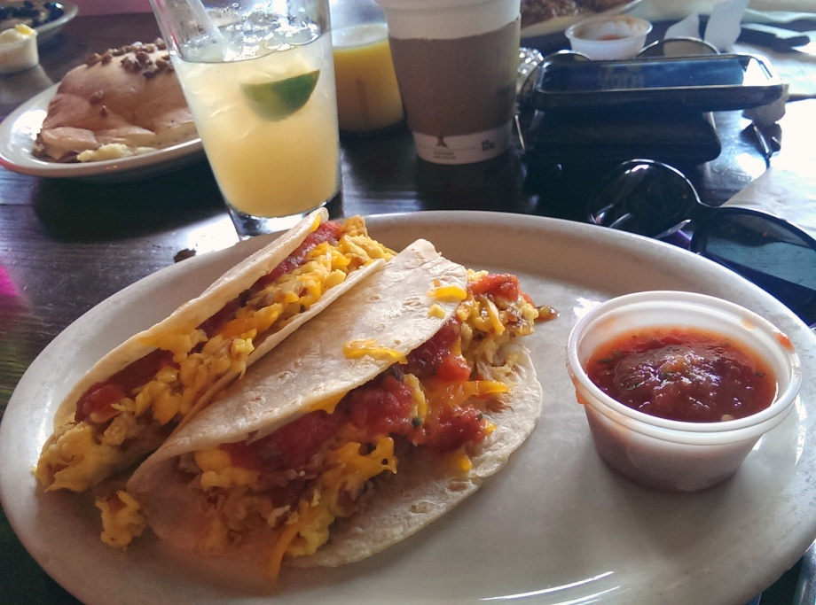 Breakfast tacos and Tito's Vodka