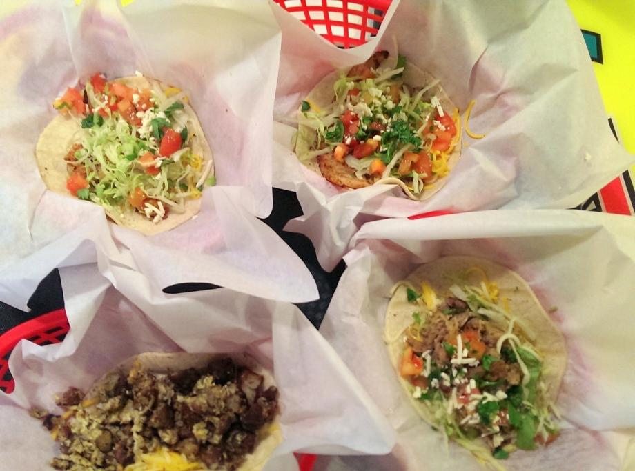 midnight tacos : fish, shrimp, carnitas, and egg and potato