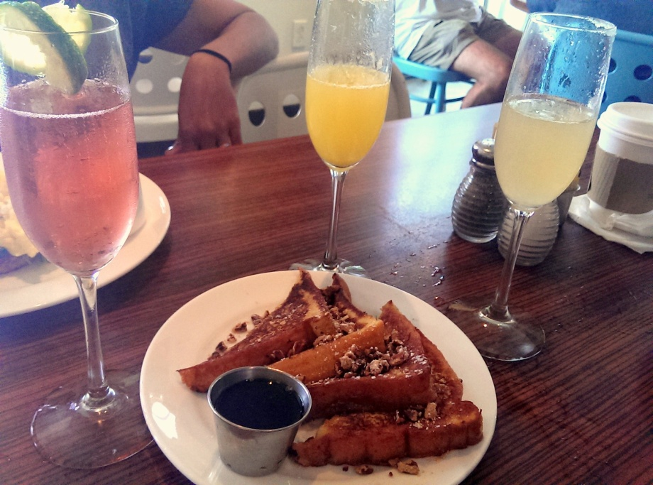 all the brunch cocktails and pecan french toast at Blue Star Cafeteria