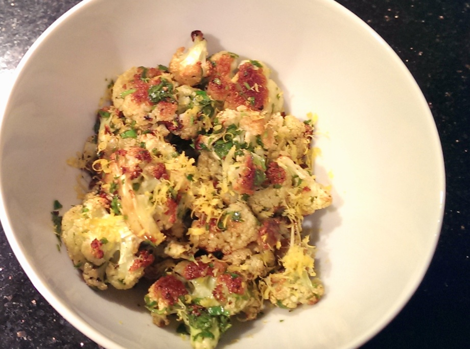 IMAroasted cauliflower with lemon-parsley dressing