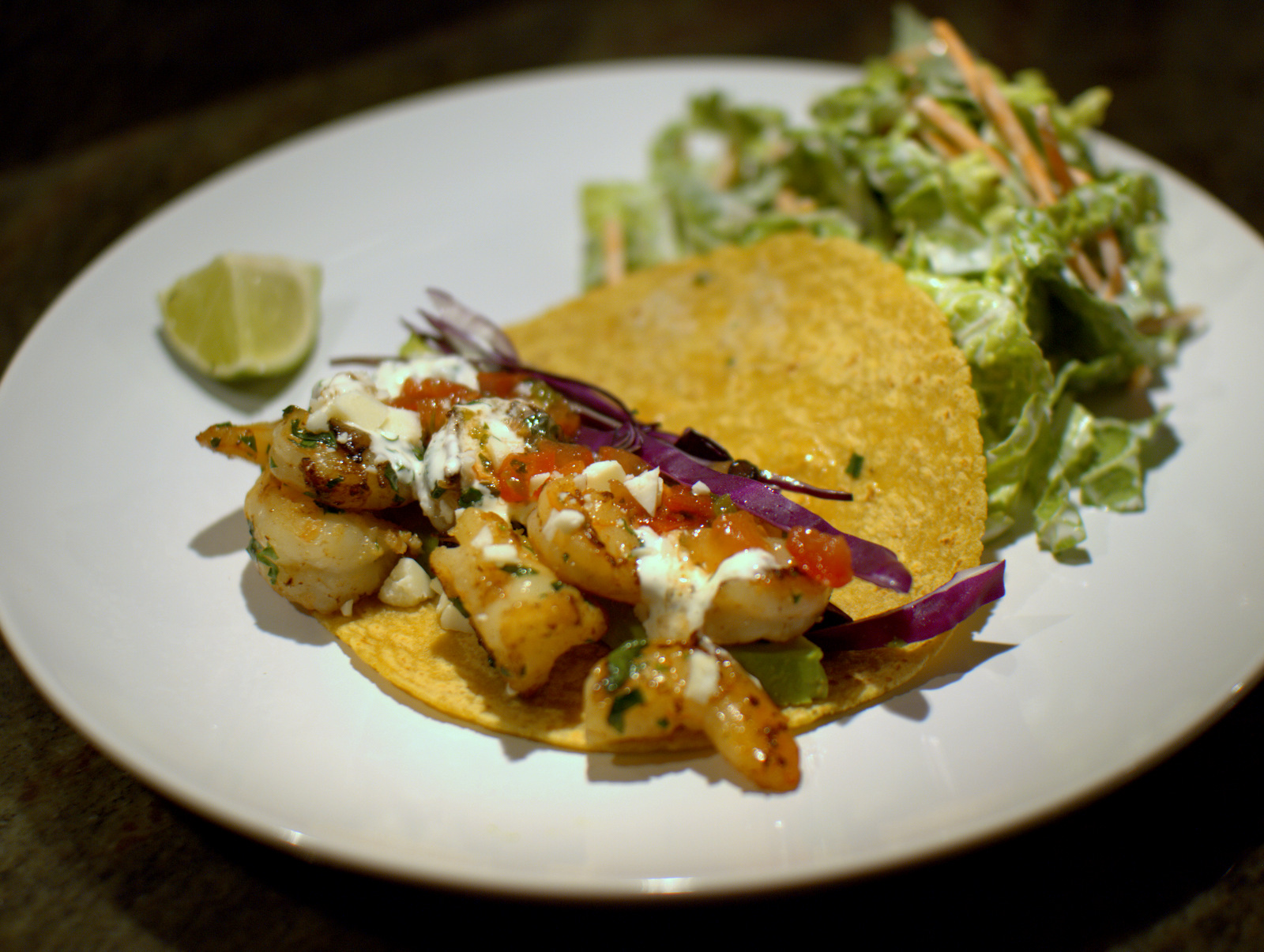 shrimp taco and napa cabbage salad with buttermilk dressing